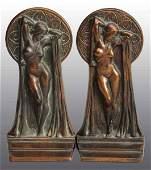 496 Pair of Bronze Art Deco Nude Bookends