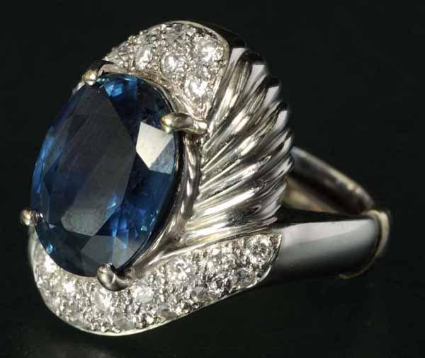 795: Antique Jewelry 18K Gold Sapphire & Diamond Ring