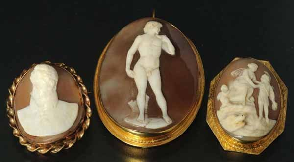843: Lot of 3: Antique Cameo Pins.
