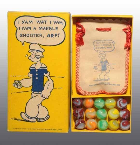 1100: Box of Akro Agate Popeye Marbles.