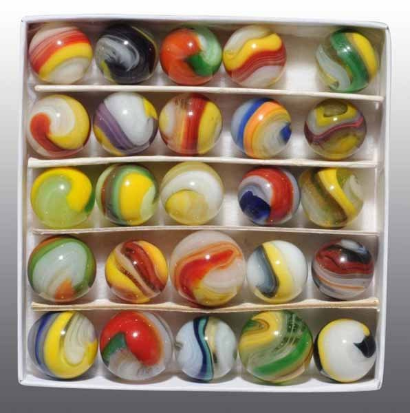 1102: Lot of 25: Akro Agate Popeye Corkscrew Marbles.