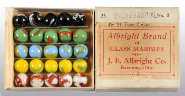 1103: Glass Albright Brand Marble Box with Marbles.