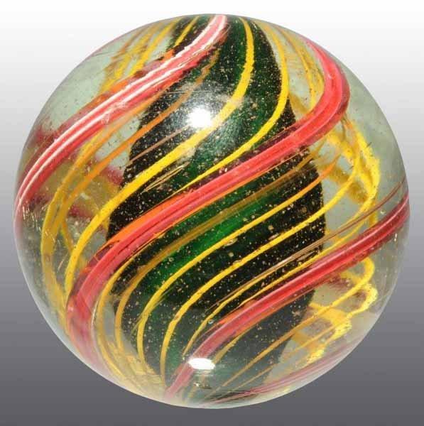 1164: Dark Green Solid Core Tri Level Swirl Marble.