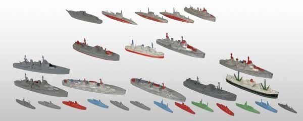 2108: Lot of 59: Tootsie Toy Die-Cast Ships.