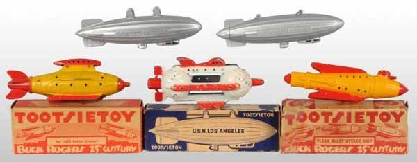 2112: Lot of 5: Tootsie Toy Buck Rogers Die-Cast Toys.