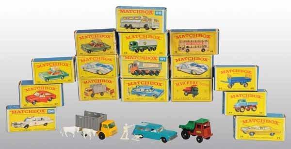 2118: Lot of 16: Matchbox Die-Cast Vehicle Toys.
