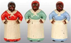 2468 Lot of 3 Cast Iron Hubley Mammy Paperweights