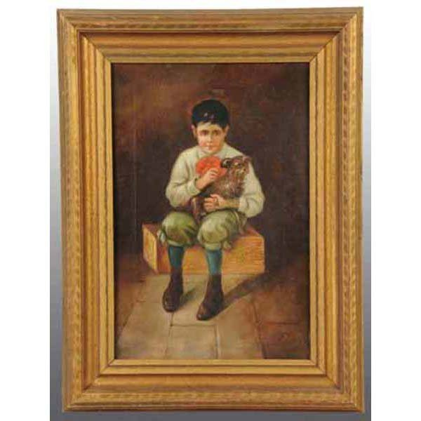 1: Lot of 2: Oil on Canvas Boy with Dog Paintings.