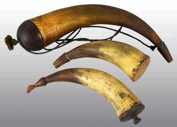18: Lot of 3: Gun Powder Horns.