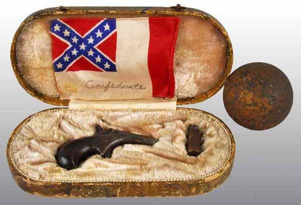 20: Civil War Confederate Pistol in Leather Case.