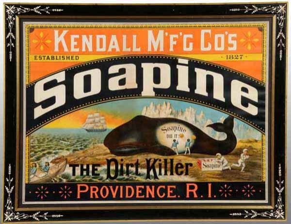 744: Early Paper Lithograph Soapine Soap Sign.