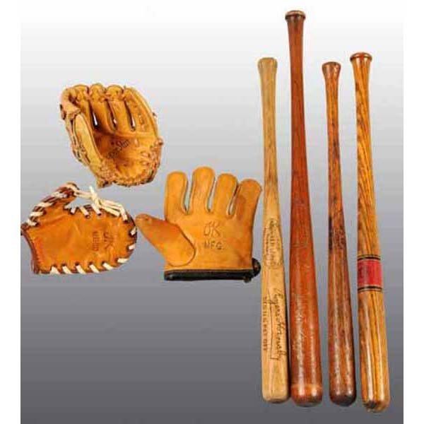 799: Lot of 7: Miniature Baseball Bats & Gloves.