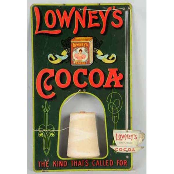 1711: Tin Litho Lowney's Cocoa String Holder.