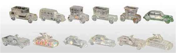 1964 Lot of 17 Glass Automobile Candy Containers