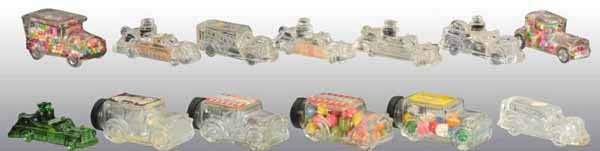 1970 Lot of 13 Glass Automobile Candy Containers