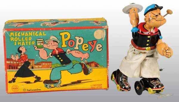 2007: Linemar Popeye Roller Skating Toy in Orig Box.