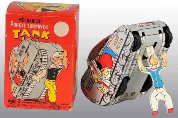 2008: Linemar Popeye Turnover Tank Toy in Original Box.