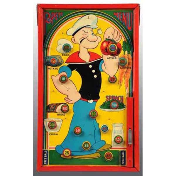 2014: Tin Litho Popeye Menu Marble Game in Orig Box.
