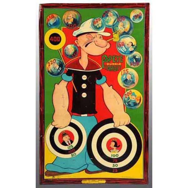 2015: Tin Litho Popeye Bubble Target.