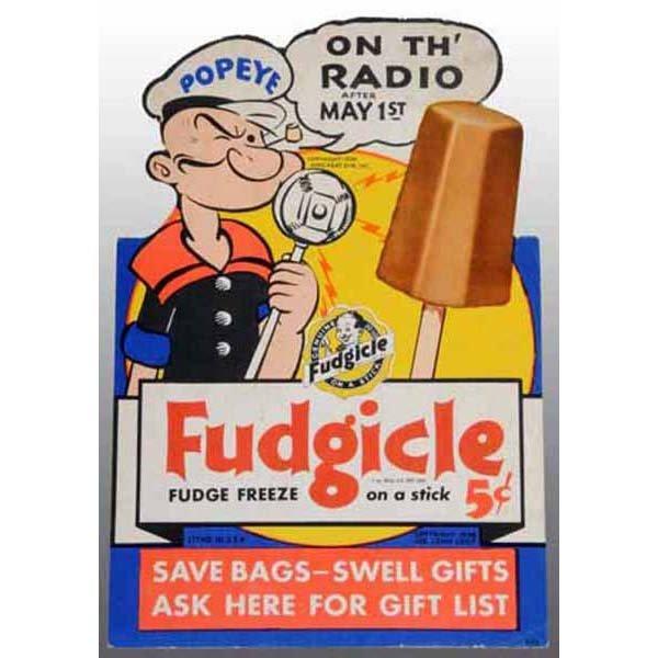 2017: Cardboard Die-Cut Popeye Fudgicle Radio Show Sign