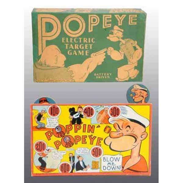2020: Large Paper Litho Popeye Electric Target with Gun