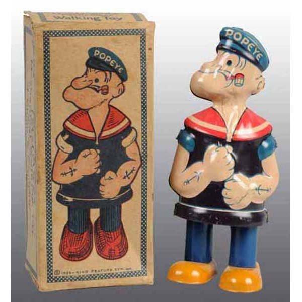 2022: Tin Litho Chein Popeye Waddler Toy in Orig Box.