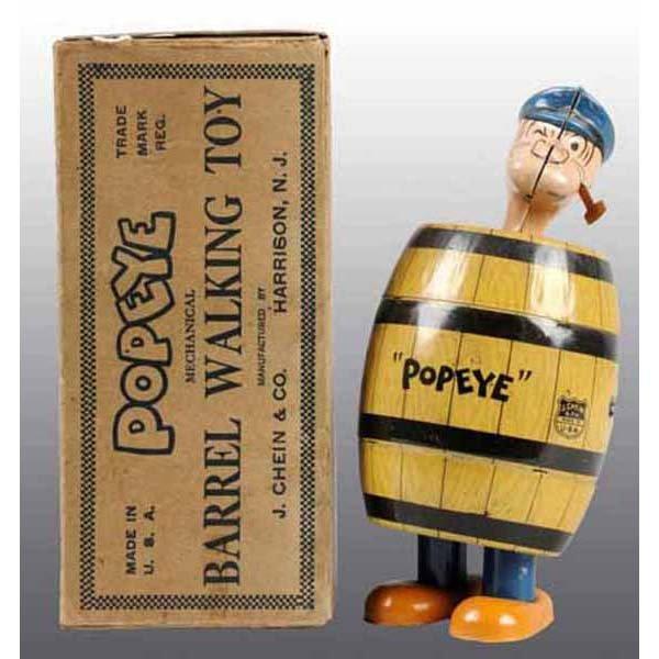 2023: Chein Popeye Barrel Walker Toy in Orig Box.