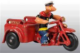 2035: Cast Iron Hubley Popeye Spinach Patrol Motorcycle