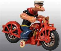 2036: Cast Iron Hubley Popeye Patrol Motorcycle Toy.