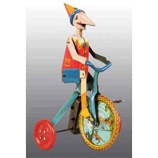 2189: Ingap Pinocchio Riding High-Wheel Bike Toy.