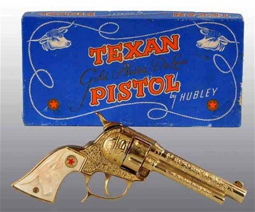 2411: Hubley Texan DeLuxe Gold-Plated Toy Cap Gun
