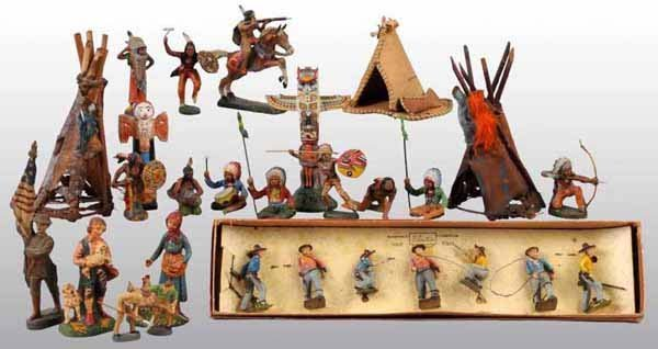 2487: Lot of German Elastolin Cowboy & Indian Figures.