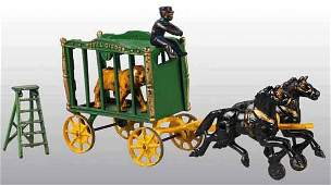 2868: Cast Iron Hubley 2-Horse Royal Circus Cage Wagon.