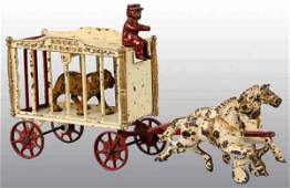 2880: Cast Iron Hubley 2-Horse Royal Circus Cage Wagon.