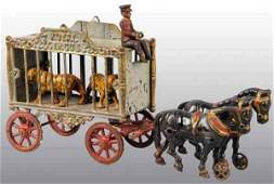 2976: Cast Iron Hubley Royal Circus Horse-Drawn Toy.