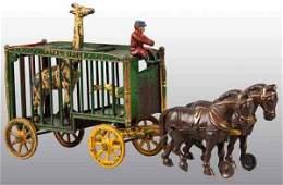 2978: Cast Iron Hubley 2-Horse Royal Circus Cage Wagon.