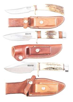 LOT OF 3: CONTEMPORARY RANDALL MADE FIXED BLADE KNIVES.