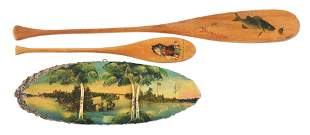 LOT OF 3: EARLY FOLK ART FISHING-THEMED ITEMS.
