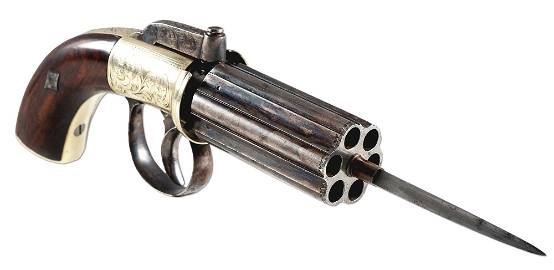 (A) ENGLISH PEPPERBOX REVOLVER WITH SPIKE BAYONET.