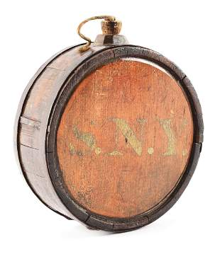 WAR OF 1812 STATE OF NEW YORK SOLDIER'S WOODEN CANTEEN.