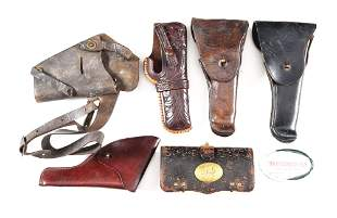LOT OF 7: 5 HOLSTERS, M1872 FRAZIER'S CARTRIDGE BOX,