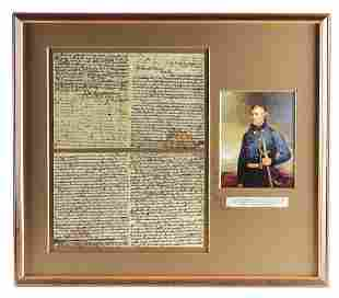 FRAMED POLITICAL LETTER BY ZACHARY TAYLOR REGARDING HIS