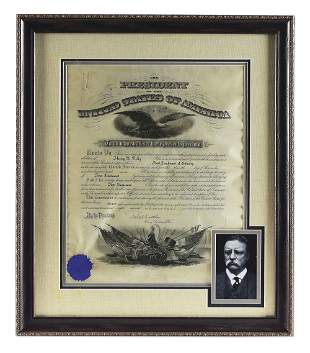 FRAMED INFANTRY LIEUTENANT APPOINTMENT DOCUMENT SIGNED