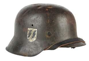 GERMAN WORLD WAR II M42 SS SINGLE DECAL HELMET.