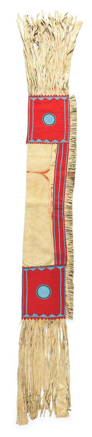 NATIVE AMERICAN BEADED AND PAINTED DOUBLE SADDLE BAGS.
