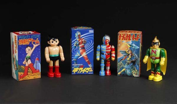 700: Lot of 3: Tin Superhero Wind-Up Toys.