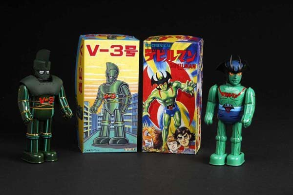 703: Lot of 2: Tin Superhero Wind-Up Toys.