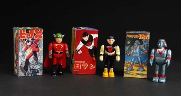706: Lot of 3: Tin Superhero Wind-Up Toys.