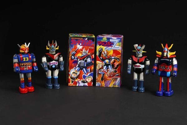 708: Lot of 4: Tin Mazinger Superhero Wind-Up Toys.