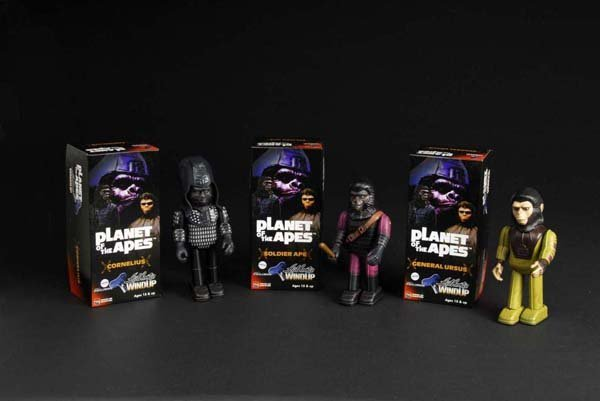 716: Lot of 3: Tin Planet of the Apes Wind-Up Toys.